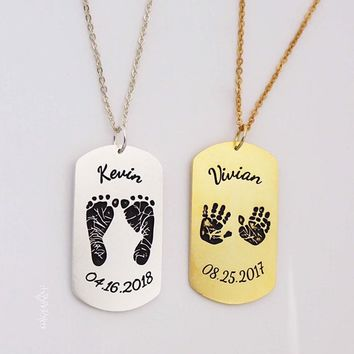 Baby Footprint Necklace, Baby Handprint Necklace, Silver Engraved Necklace, Personalized Dog Tag, Memorial Gift