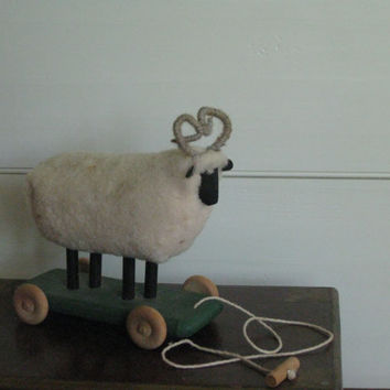 Vintage wooden Lamb Pull Toy for your Little Lamb