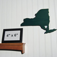 "New York Jets ""State Heart"" wall art, handcrafted wood with official team colors"