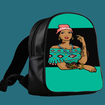 Pocahontas Hipster for Backpack / Custom Bag / School Bag / Children Bag / Custom School Bag *