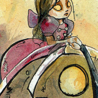 Bioshock - Not in Kansas Anymore - Signed Print - Steampunk Little Sister Illustration