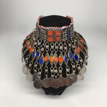 Antique Afghan Kuchi Choker Tribal Multi-Color Glass Jingle Coins Necklace,Ck163