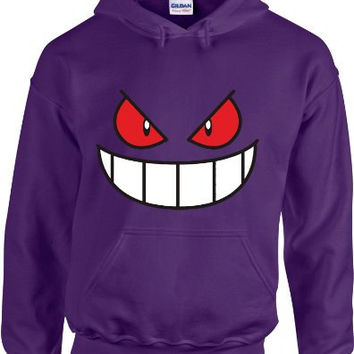 Gengar Face Pokemon Hoodie Hooded Sweatshirt