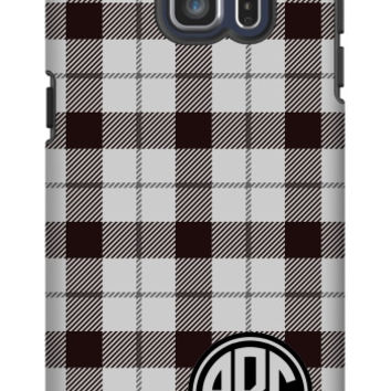 Plaid Monogram Galaxy S6 Edge Plus Extra Protective Bumper Case