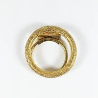 Round Ring Dress Clip Brushed Gold Tone Vintage 1970s 1980s Modern Fashion Accessory Wardrobe Embellishment Scarf Clip Jewelry Reuse Recycle