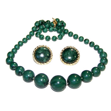 Vintage Graduated Bead Strand Necklace & Matching Earrings, Green Stone Look