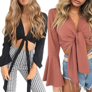 Womens Ladies Lace Up Satin Tie Knot Front Flared Sleeve Plunge Neck Crop Top