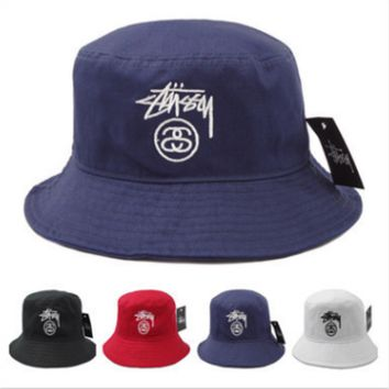 Trendy Unisex Stussy Embroidery Cotton Fisherman Hat Cap