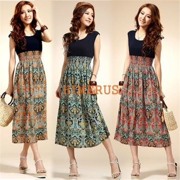 2015 New Fashion Womens Lady Vintage Sleeveless Bohemian High Waist Long Dress Floral Print