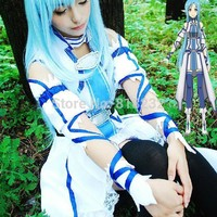 SAO Sword Art Online Yuuki Asuna Uniform Dress Outfit Anime Cosplay Costumes