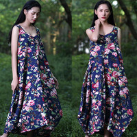 Blue Floral Print Sleeveless Asymmetric Hem Maxi Dress