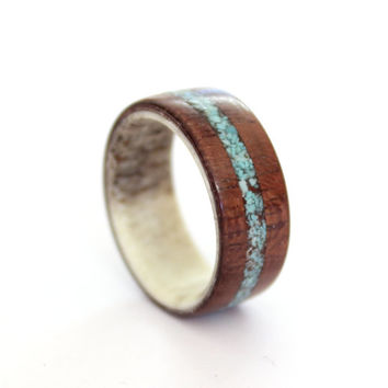 Antler  band amaranth wood  ring with turquoise inlay