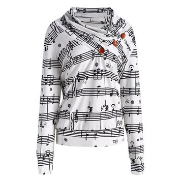 CharMma 2017 New Autumn Fashion Musical Notes Printed Pullover Women Ruffled Neck Long Sleeve Sweatshirt Women Casual Tops