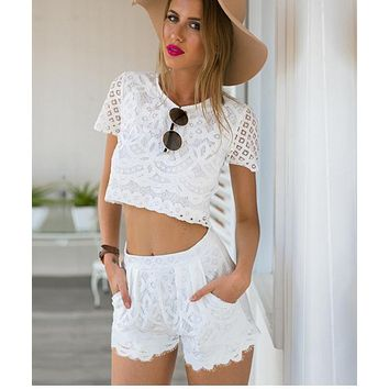 fashion cute two piece lace romper playsuit-1