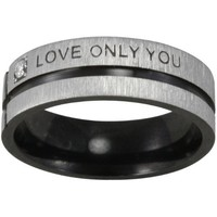 "Black Tone Stainless Steel ""Love Only You"" Cubic Zirconia Band Ring"