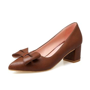 Shallow Toe Bow Women's Pumps Middle Heels Shoes