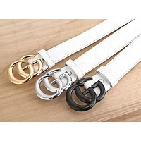 ''Gucci''Woman Fashion Smooth Buckle Leather Belt