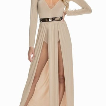 Khaki V-Neck Long Sleeve High Slit Belted Dress