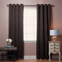 "Grommet Top Square Quilted Window Curtain 84"""" Pair - Chocolate"