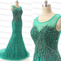 Handmade Crystal/Beading Tulle Green Prom Dress,Long Green Formal Women Evening Dress ,Cap Sleeve Mermaid Prom Gowns For Wedding