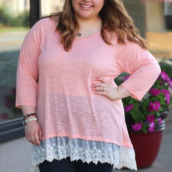 Trimmed in Lace in Peach {Curvy}