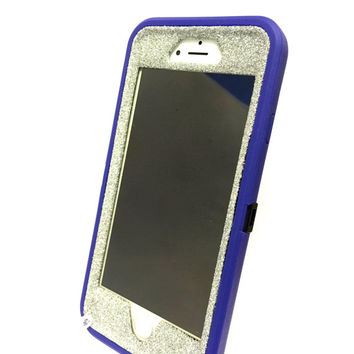 iPhone 6 (4.7 inch) OtterBox Defender Series Case Glitter Cute Sparkly Bling Defender Series Custom Case  purple / silver