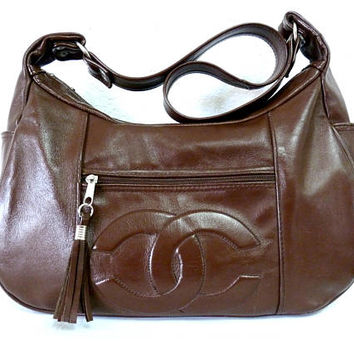 Brown Leather Shoulder Bag CC logo Tassel Hobo Satchel Hipster Purse