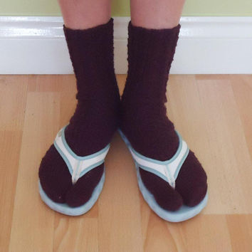 Women Tabi Socks, Burgundy Split Toe Socks, Flip Flops Socks, Japanese Style Socks