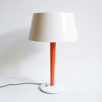 1970s Mod Lightolier Space Age Orange & Cream Melamine UFO Table Lamp