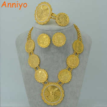 Anniyo Gold Color Coin Jewelry Set Long Necklace/Bangle/Ring/Earrings Mexico Coin Ethiopian Wedding Gift African Jewelry #015706