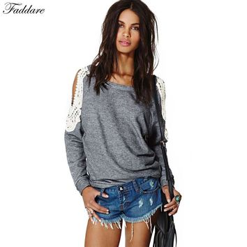 2016 Spring Autumn Women Casual Sexy Lace Crochet Splice Off Shoulder Long Sleeve Shirts Tops Blouse Hoodies Sweatshirts S-XL