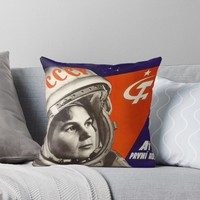 'Glory to the first woman cosmonaut!' Throw Pillow by planetterra