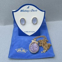 Vintage Whiting & Davis Old Store Stock Lavender Molded Glass Earrings Necklace Set MINT On Card