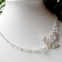 Silver Anchor Necklace, Anchor Clear Crystal Sideways Chainmaille Necklace, Nautical Jewelry