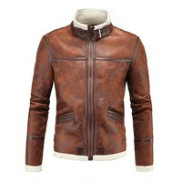 Herobiker Motorcycle Jackets Men PU Leather Jacket Vintage Retro Zipper Biker Punk Classical Windproof Faux Leather Moto Jacket