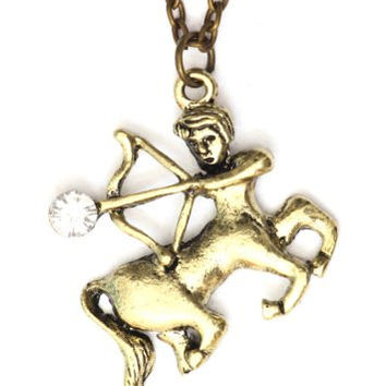 Sagittarius Necklace Zodiac Sign NG25 Crystal Centaur Archer Gold Tone Pendant Astrology Horoscope