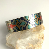 Wide Arm Cuff Bracelet, silver aluminum adjustable printed boho bohemian bangle bright colorful birthday gift gifts for her