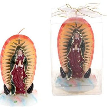 Lady Guadalupe Statue Candle in Gift Box Case Pack 48