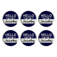 Jacoby Hello My Name Is Plastic Resin Button Set of 6