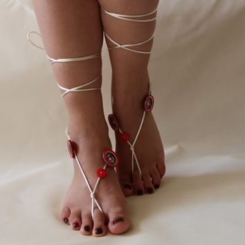 FREE SHİP Beach Wedding Barefoot Sandals,Red and White Button Sandals,Beach Sandals,Summer Shoes,Bridesmaid Gift,