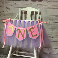 Lavender and Light Pink Highchair Banner- Highchair Skirt- Highchair Tutu-Highchair Banner- Tulle Highchair Skirt-Smash Cake High Chair Tutu