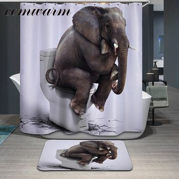 Comwarm Funny Animals Elephant Pattern Polyester Shower Curtain Glasses Dog Bear Shark Panda Printed Waterpoof Bath Curtain