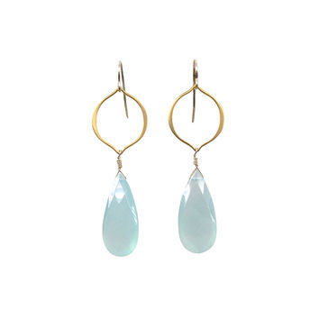Aqua Chalcedony Long Drop Earrings