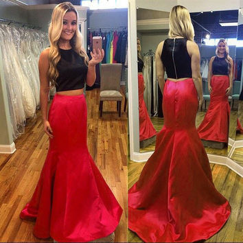 Two Piece Satin Black Red Prom Dresses