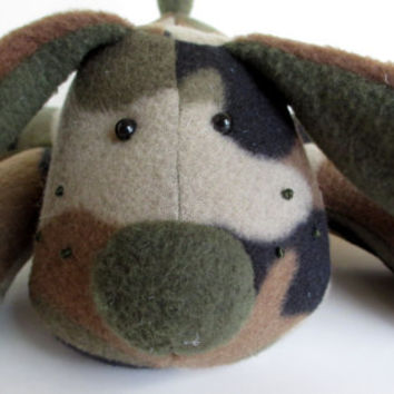 Oswald the Puppy Dog, camouflage, fleece, brown, green, floppy, toy, dog, stuffed animal