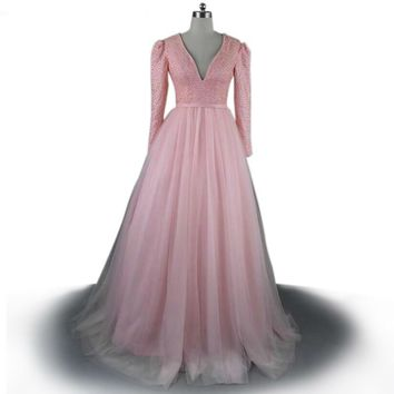 Long sleeve dresses deep v-neck party dress pink crystal applique open back pink dress evening dresses