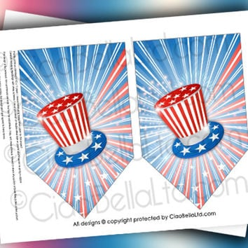 Printable Stars And Stripes Patriotic Party Banner - INSTANT DIGITAL DOWNLOAD