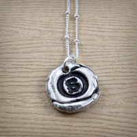 S Initial Necklace - Ready to Ship - Fine Silver Monogram Pendant - Sterling Silver - Silver Wax Seal Jewelry - Letter S Gift for Him or Her