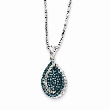 Sterling Silver Blue & White Diamond Teardrop Pendant Necklace