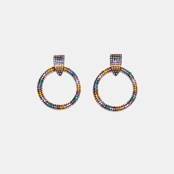 FRONTAL HOOP EARRINGS WITH RHINESTONES DETAILS
